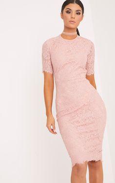 e56a756d158 Frankie Dusty Pink Lace Tie Back Midi Dress Επίσημα Φορέματα, Δαντελωτά  Φορέματα