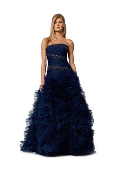 Tulle and organza ruffles ball gown with beaded jewel bodice in sapphire.