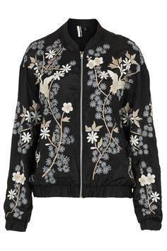 Chinoiserie Flower Bomber Jacket