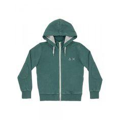 Boy's green zipped fleece with hood SUN68 SS15 KIDS #SUN68 #SS15 #kids #boy #fleece