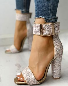 662c77147 Stylish Sequin Open Toe Chunky Heeled Sandals