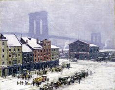 Falling Snow, New York, n.d., Everett Warner, oil on canvas, 32 1/8 x 40 1/8 in. (81.5 x 102.0 cm), Smithsonian American Art Museum, Bequest of Henry Ward Ranger through the National Academy of Design, 1978.63