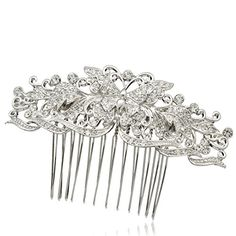 Butterfly Flower Hair Comb Rhinestone Crystal Women Wedding Birthday Party 1338R *** You can find more details by visiting the image link.(This is an Amazon affiliate link and I receive a commission for the sales)
