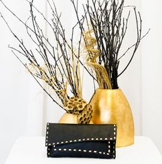 Black Envelope Clutch Bag With Gold Stitching