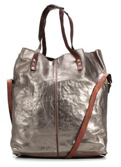 Lavata Tote Leather silver 45 cm