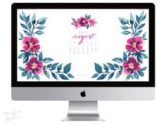 Pretty posy watercolor August 2017 calendar wallpaper for your computer. 100% original art by artist Michelle Mospens. | Mospens Studio