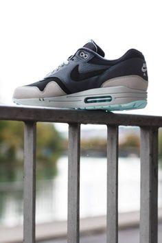 "a086a33c159 Nike Air Max 1 Leather ""Dark Ash Grey Light Blue"" Dark Ash"