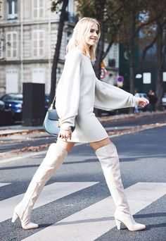 Elena Perminova // All-white outfits can be sexy + edgy, too. Take a cue from this outfit + rock thigh-high white boots. All White Outfit, White Outfits, White Dress, Street Chic, Street Style, Street Wear, Pullover Outfit, Moda Outfits, Vetement Fashion