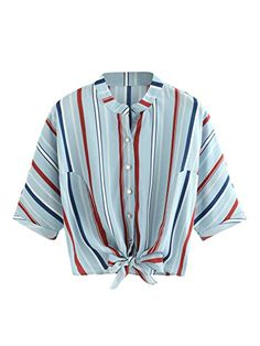 Romwe Women s Striped Knotted Front Blouse Half Sleeve Sh... https    7782f3828