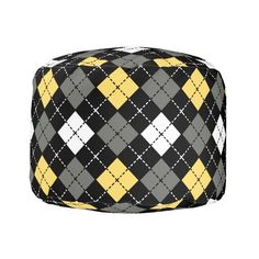 Yellow Grey and White Argyle Pattern Pouf ($112) ❤ liked on Polyvore featuring home, furniture, ottomans, yellow ottoman, yellow furniture, gray and white ottoman, grey and white furniture and grey and white ottoman