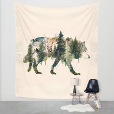 Wolf is the Pride of Nature Wall Tapestry by jollyappleskull - Wolf is the Pride of Nature Wall Tapestry by Barrett Biggers Tapestry Bedroom, Wall Tapestry, My New Room, My Room, Dorm Room, Tapestry Nature, Bedroom Decor, Wall Decor, Bedroom Ideas