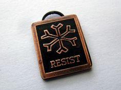 Resist snowflake pendant pin keychain by ResistTrumpTreasures on Etsy