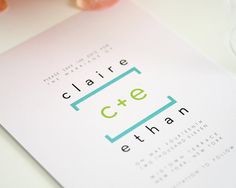 Blue and Lime Green Save the Date for a Modern door shineinvitations
