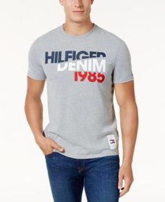 Tommy Hilfiger Men's Graphic-Print T-Shirt - Gray Best Mens T Shirts, Mens Polo T Shirts, Casual Shirts For Men, Cool T Shirts, Mens Tees, Tee Shirts, Men Casual, Tommy Hilfiger, Hilfiger Denim