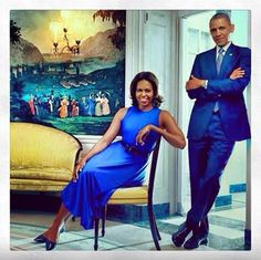 President Barack & 1st Lady, Michelle Obama. Electric blue - http://dunway.us
