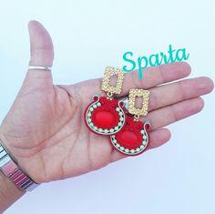 Modello SPARTA rosso e menta  #orecchini #soutache #red