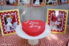 I Love Lucy Birthday Party - www.missprissandme.com For bridal shower change the name to name of bride :) use pics of bride as baby like set up here. cute!!!