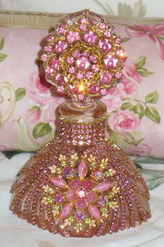 Antique Bejeweled Pink Bottle 36 From The Collection  By Debbie Del Rosario-Weiss, Juliana,brush, comb, vintage, Clock,tray, mirror, perfume, antique, vintage, victorian, Sparkle,