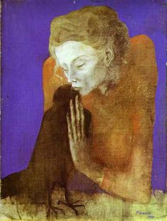 Woman with a Crow. Picasso. 1904. Charcoal, pastel and water-color on paper. Toledo Museum of Art, Toledo, OH, USA