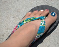 seriously so cute -- use cheap plastic flip-flops and replace plastic straps with fabric!    @Katie McNeill - this one links directly to this post.  The other one only goes to the home page so you'd have to search for it.