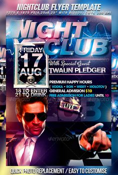 Nightclub Flyer Template — Photoshop PSD #music #blue • Available here → https://graphicriver.net/item/nightclub-flyer-template/309728?ref=pxcr