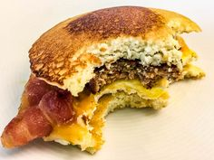 This Pancake breakfast sandwich is perfect for those busy mornings! Meal prep in advance for a quick snack or meal to go. Customizable for dairy free, sugar free, grain free, keto, low carb and paleo diets.