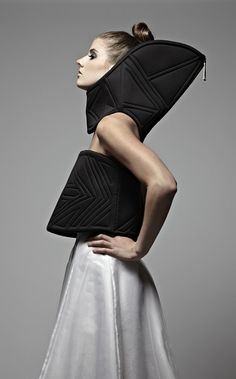 Sculptural Fashion with elongated silhouette & trapunto stitch detail - avant garde sportswear; fashion as art // Rebecca Bernstein