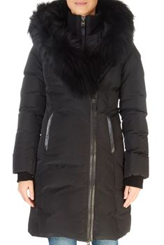 'Kay XR' Black Down Coat With Silver Fox Collar | Jessimara