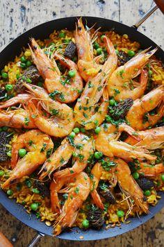 Spring Paella with Shrimp, Peas & Morels #recipe