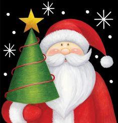 *Santa with Christmas Tree* Christmas Paintings On Canvas, Christmas Canvas, Noel Christmas, Christmas Signs, Christmas Pictures, Christmas Projects, Christmas Themes, Holiday Crafts, Christmas Decorations