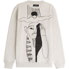 McQ Alexander McQueen Printed Cotton Sweatshirt ($190) ❤ liked on Polyvore featuring tops, hoodies, sweatshirts, grey, pattern tops, relaxed fit tops, grey sweat shirt, gray sweatshirt and grey sweatshirt