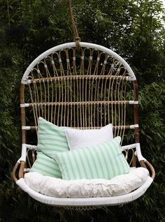 Lazy Sunday with our Double Rattan Hanging Chair and Striped Cushions. Rattan Furniture, Outdoor Furniture, Outdoor Decor, Striped Cushions, Garden Oasis, Relax, Patio, Bed, Hanging Chairs