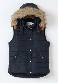 Blue Plain Band Collar Hooded Pockets Cotton Vest $59