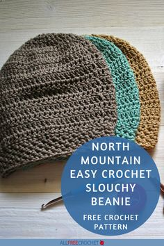 North Mountain Easy Crochet Slouchy Beanie #freecrochethatpattern #crochethat All Free Crochet, Learn To Crochet, Easy Crochet, Crochet Baby Hat Patterns, Crochet Baby Hats, Crochet Slouchy Beanie, Crocheted Hats, Crocheting, Mountain