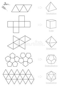 Platonic Solids Craft Pattern Template Stock Vector - Illustration of handicraft, dimensional: 70885169 Cement Art, Concrete Crafts, Concrete Projects, Origami Geometric Shapes, Geometric Designs, Geometric Art, Diagrammes Origami, Platonic Solid, Paper Crafts Origami