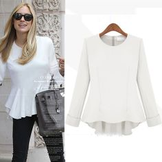 Hot Sale O Neck Long Sleeve White Blouse(US$11.49)