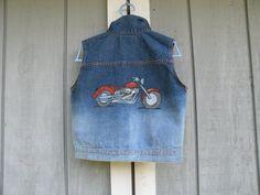 Hand Painted Denim Vest Harley Motorcycle