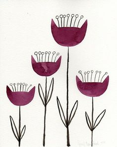 Original Watercolor Painting of Abstract Scandinavian Folklore Flowers