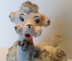 Spaghetti Poodle Vtg 1950s  Porcelain Dog Ceramic Figure Hand Made Hair French