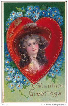 VALENTINE´S DAY : Female head portrait inside giant heart , PU-1912 - Delcampe.com
