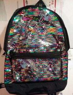 Details about Victoria s Secret RAINBOW Sequin Backpack NeW Pink Campus  Bling Book Bag NWT 827399a06108