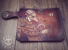 """""""A plague doctor"""" handmade leather wallet"""