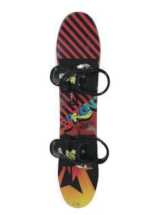 Burton Chopper Snowboard 90cm Grom Youth Child W/ Bindings Graffiti Art Graphics #Burton