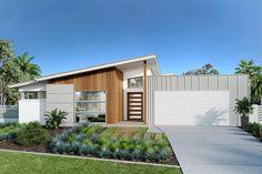 Broadbeach 224 - G. Gardner Homes Contemporary House Plans, Modern House Design, Cabana, Custom Home Designs, House Elevation, Building A New Home, Sims House, Facade Design, Facade House