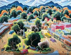 Down on the Santa Fe Plaza - Kim Douglas Wiggins artist