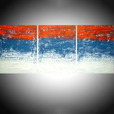 """Abstract triptych wall art 3 panel """" Colour Fusion 3 """" 3 panel paintings original painting on canvas modern art triptyque. A White impasto background with a foreground of shades of turquoise and orange, make up a unique original artwork. Triptych Wall Art, Abstract Wall Art, Canvas Wall Art, Ebay Paintings, Original Paintings, Handmade Wall Clocks, Modern Art, Mixed Media, Turquoise"""