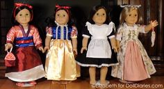 American Girl dolls wearing great costumes found on eBay