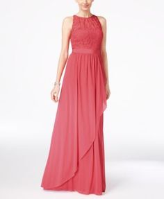 Adrianna Papell Lace Illusion Halter Gown | macys.com