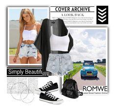 """Romwe 8/10"" by elmahaskic ❤ liked on Polyvore featuring Mode, Converse, PARENTESI und romwe"