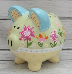 Personalized Piggy Bank Custom hand painted by Alphadorable Hand Painted Ceramics, Porcelain Ceramics, The Little Couple, Personalized Piggy Bank, One Stroke Painting, Pebble Painting, Pottery Studio, Baby Decor, Altered Art